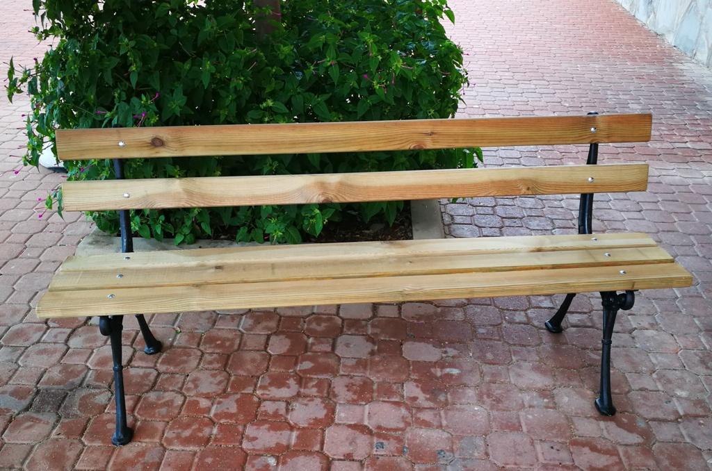 Banco para jardín, hierro fundido y madera tratada 02VLN3108
