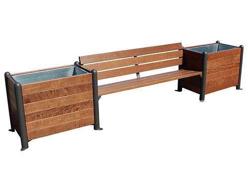 Banco con jardineras de madera para exterior gmj12355md for Banco de madera exterior