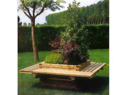 Jardinera con asientos de madera para exterior GMJ12010MD Vilena