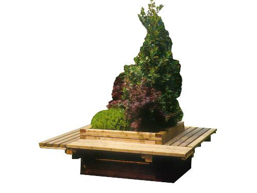 Venta de jardineras de madera con asientos