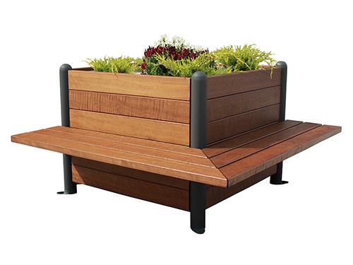 Jardinera de madera con bancos incorporados gmj12352md for Jardineras de hormigon baratas