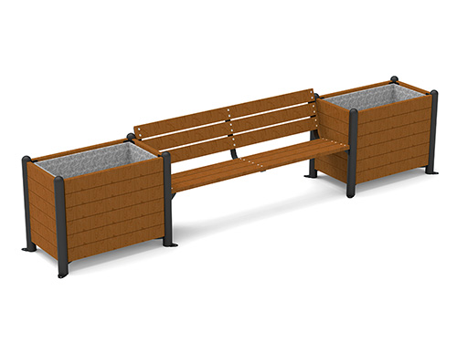 Banco con jardineras de madera para exterior GMJ12355MD - Vilena