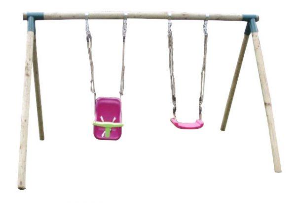 Columpios infantiles de madera con asientos