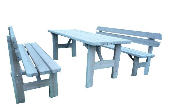Conjunto de madera de pino para jardín y mobiliario urbano