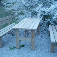 Mesa bancos para exterior, mobiliario de madera