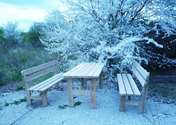 Conjunto picnic de madera. Mesa y bancos de pino nórdico tratado.