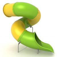 Toboganes cerrados en espiral. Accesorios para parques infantiles. Tobogán modulable multicolor para áreas de juegos en exteriores.